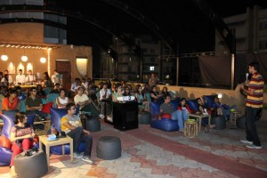Q and A after a Hola Venky Traveling Cinema screening in Pune